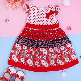 """Платье нарядное для девочки """"Барышня-крестьянка с красной отделкой"""", рост 74-80 см (1 год)"""