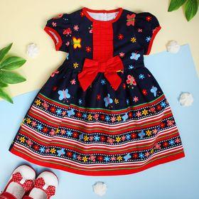 """Платье для девочки """"Красный бантик"""", рост 80-86 см (1,5 года)"""