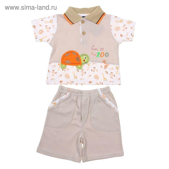 """Комплект для мальчика (футболка+шорты) """"Черепашка"""", рост 74-80 см (6-9 мес.), цвет кремовый"""