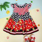 """Платье нарядное для девочки """"Красные цветы"""", рост 92-98 см (2 года), цвет чёрный"""
