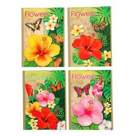Блокнот А6, 24 листа на скрепке 'Цветок джунглей', МИКС Ош
