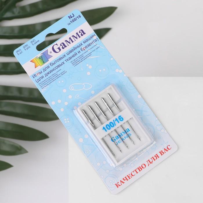Иглы для бытовых швейных машин № 100/16, 5шт, для джинсовых тканей