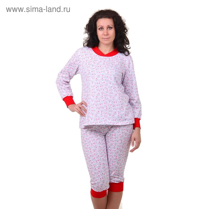 Пижама женская (кофта, бриджи) 98 МИКС, р-р 50