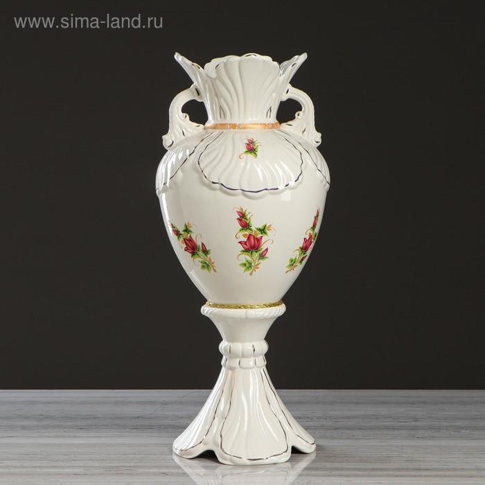 """Ваза напольная """"Орхидея"""" роспись, белая"""