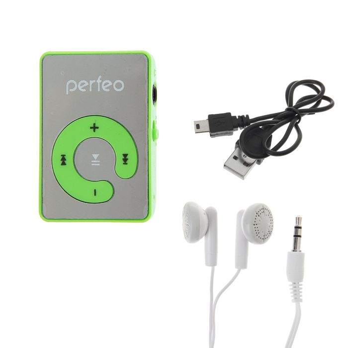 Цифровой MP3-аудиоплеер Perfeo Music Clip Color, зелёный