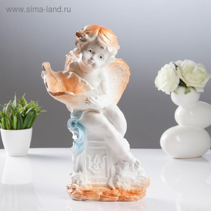 """Статуэтка """"Ангел с листиком"""" белая"""