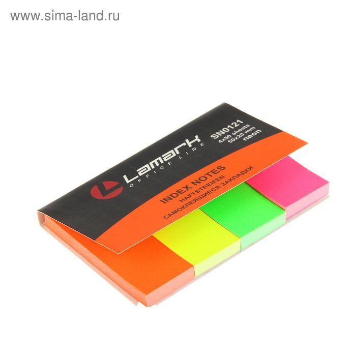 Флажки с клеевым краем 20*50мм Lamark 4 цветов 50 листов Neon SN0121