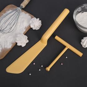 Набор кулинарный 2 предмета: лопатка для блинов 32 см, рапределитель теста 13 см