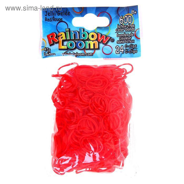 Резиночки для плетения гелевые, красные, набор 600 шт., крепления, 24 шт.