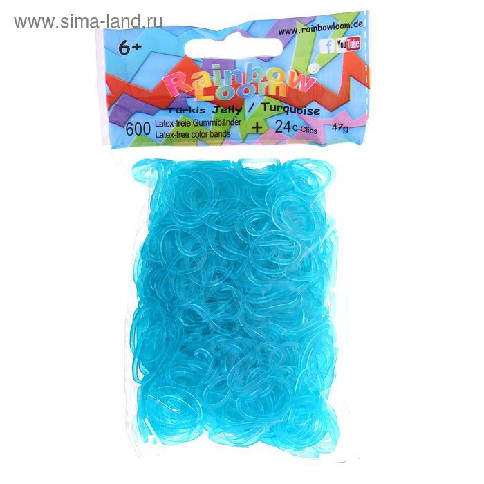 Резиночки для плетения гелевые, голубые, набор 600 шт., крепления, 24 шт.