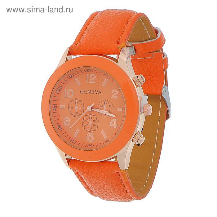 Часы наручные женские, красный циферблат,красный/оранжевый  ремешок