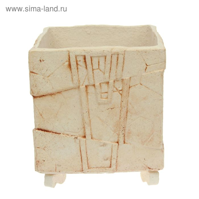 """Кашпо """"Куб"""" шамот, резное"""