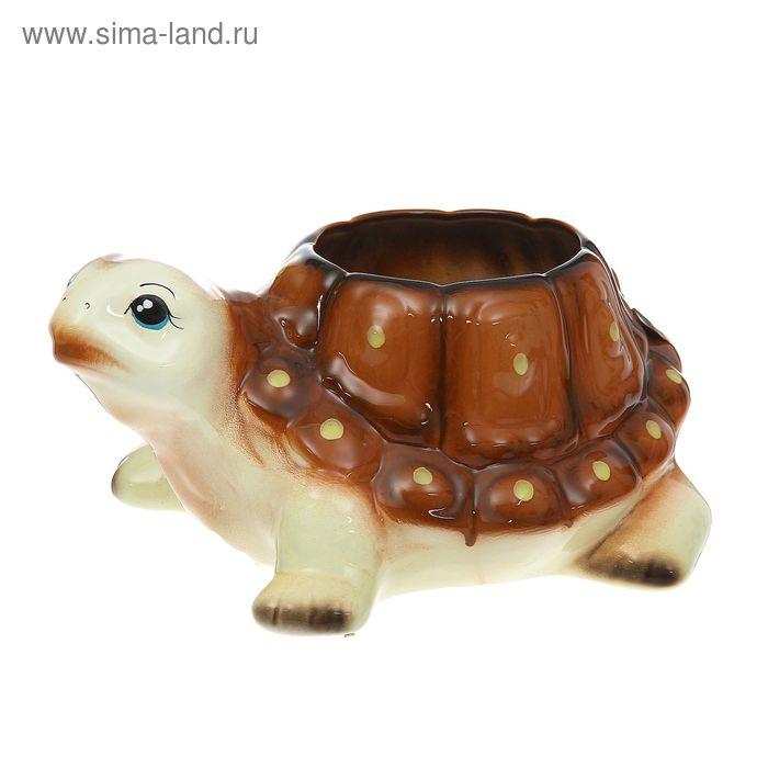 """Фигурное кашпо """"Черепаха"""" бело-коричневое"""