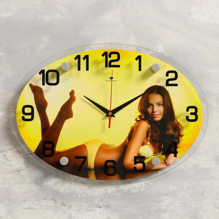 """Часы настенные овальные """"Девушка в желтом купальнике"""", 24х34 см микс"""