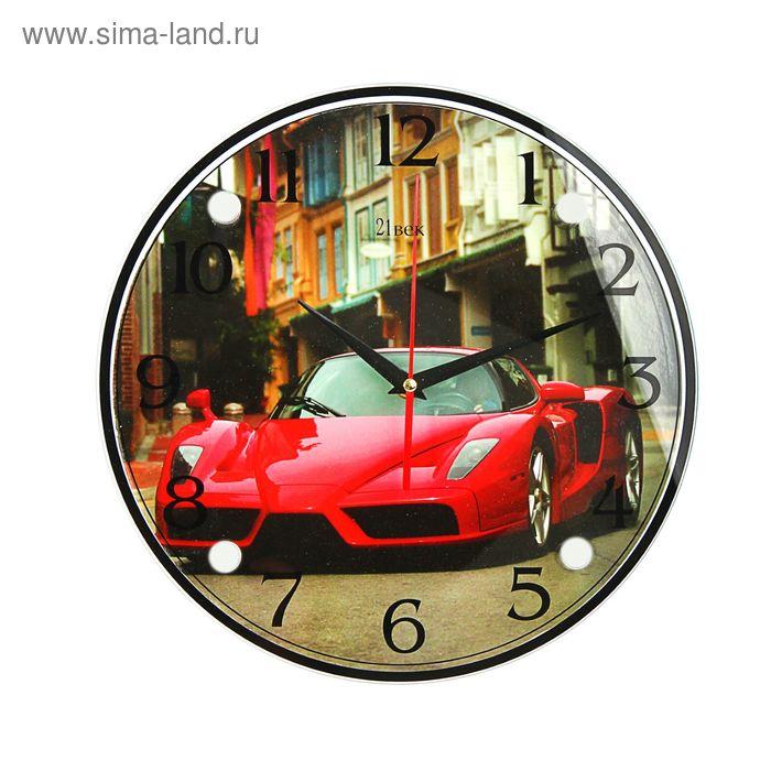 """Часы настенные круглые """"Красный суперкар"""", 30х30 см"""