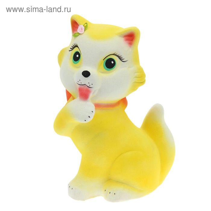 """Копилка """"Кошка с бантом"""" флок, жёлтая"""