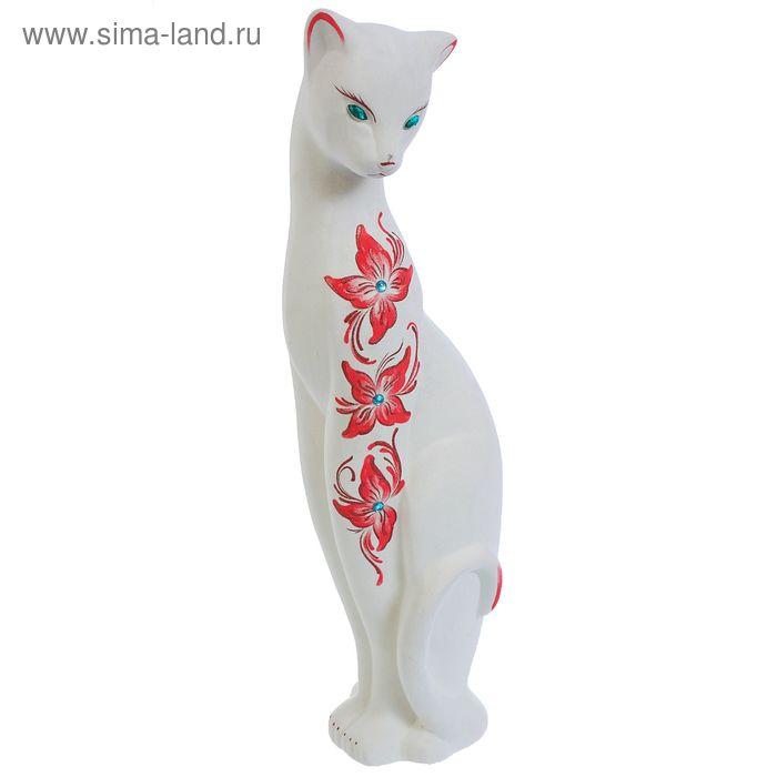 """Копилка """"Кошка Багира"""" большая, флок, белая, стразы, микс"""