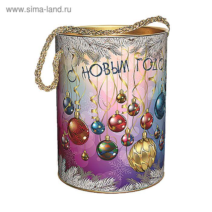 """Подарочная коробка, тубус """"Новогодние шары цветная"""" 12х16.5 см"""