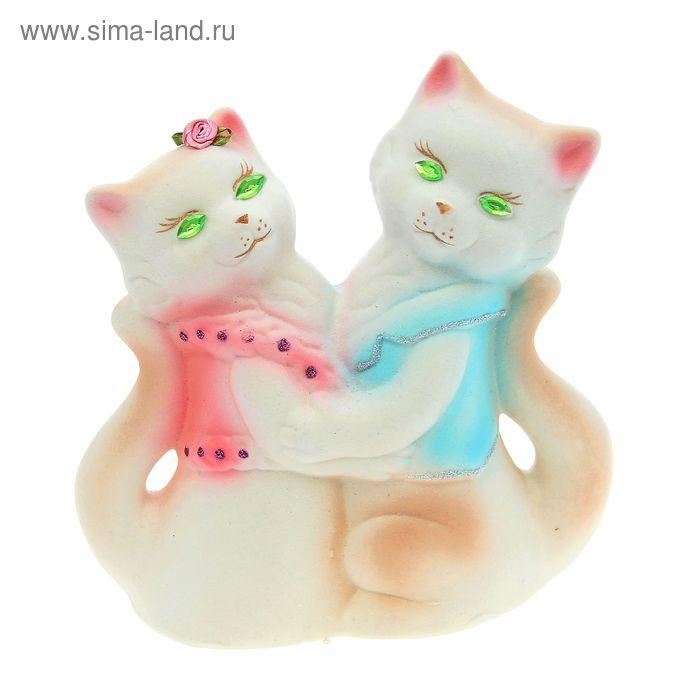 """Копилка """"Коты"""" пара, флок, белая, зелёные глаза"""