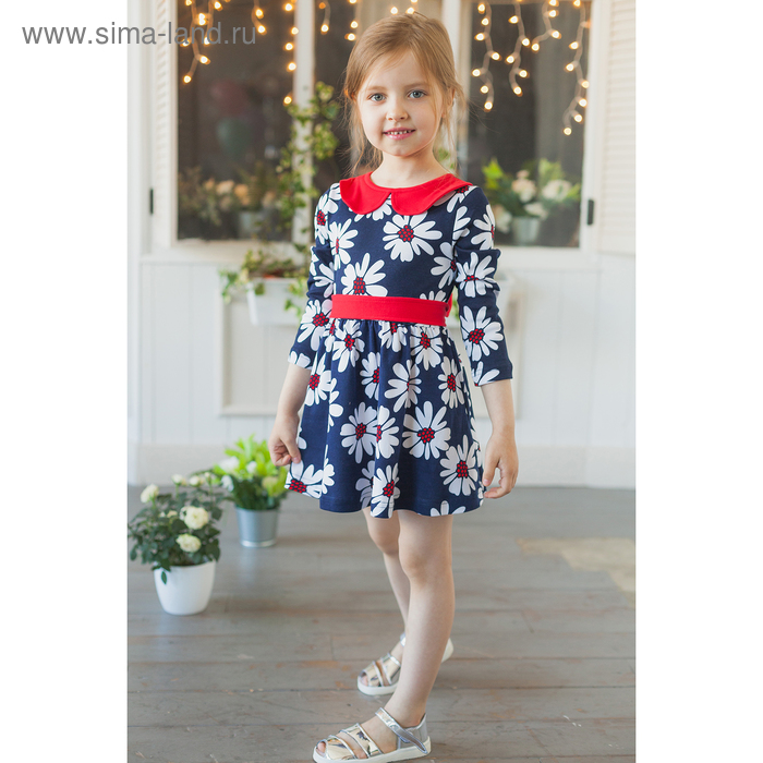 """Платье """"Осенний блюз"""", рост 116 см (60), цвет ромашки на темно-синем"""