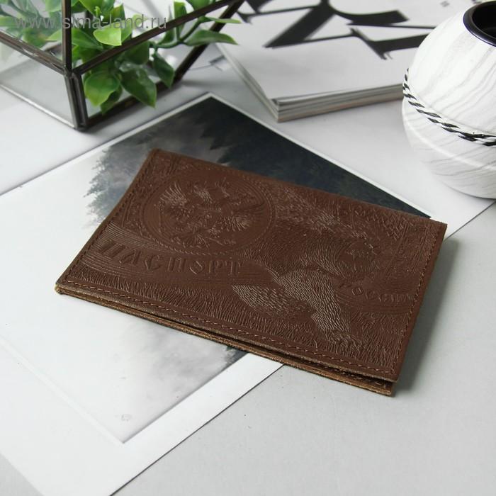 """Обложка для паспорта, """"Медведь"""", коричневая"""