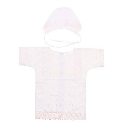"""Крестильный набор """"М/Мидол"""" (рубашка+чепчик), рост 74-80 см, цвет белый 2050"""