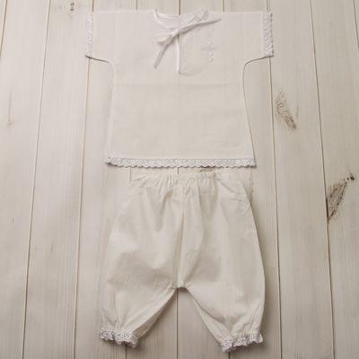 Набор крестильный (рубашка+штанишки), рост 62-68 см, цвет белый 2015