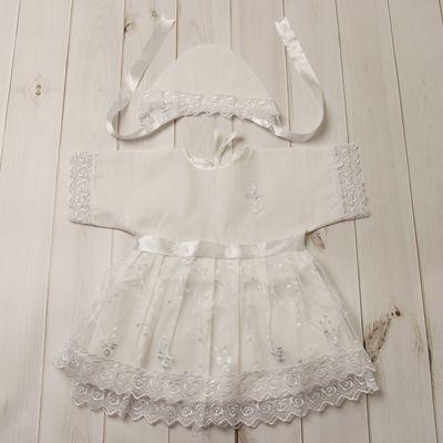 Набор крестильный (платье+чепчик), рост 74-80 см, цвет белый 2014