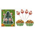 """Украшение для кексов """"Дед Мороз"""", набор 24 формочки, 24 пики"""