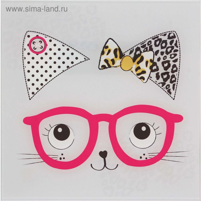 """Картина на стекле """"Кошечка в очках"""""""