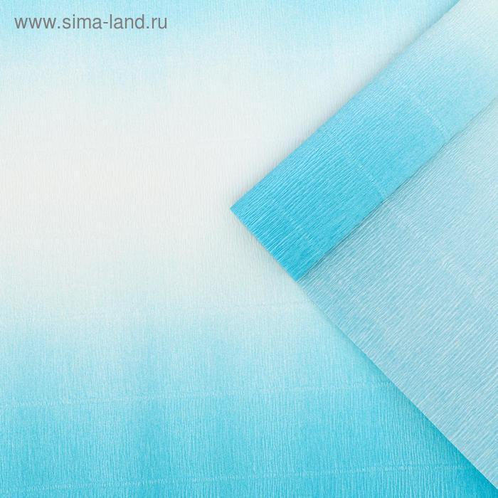Бумага гофрированная 600/2 бело-голубая, 50 см х 2,5 м
