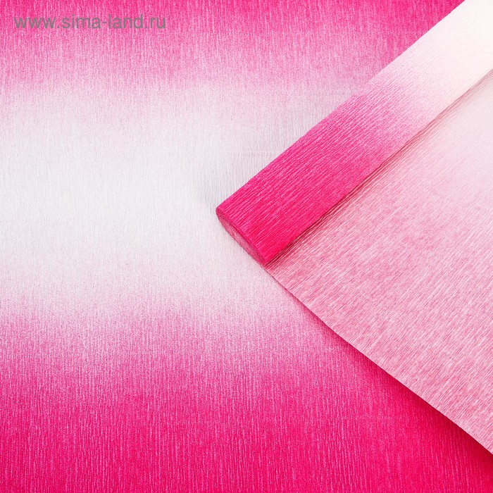 Бумага гофрированная 600/1 бело-малиновая, 50 см х 2,5 м
