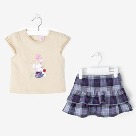 Костюм для девочки G414: футболка,юбка, МИКС, 12 мес, (рост 80 см), 100%хлопок