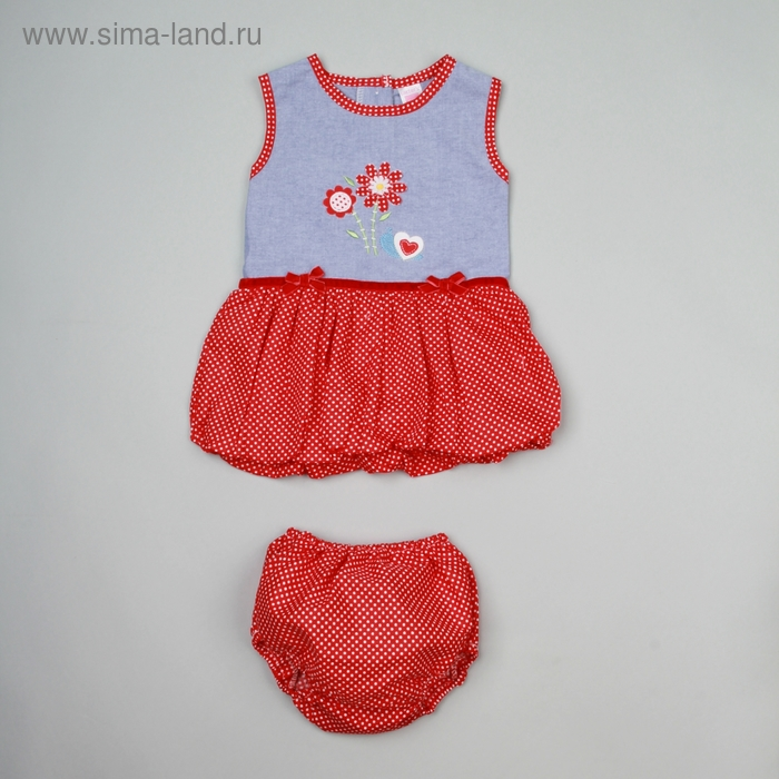 Комплект для девочки: платье + трусики, на 12 мес., рост 74-80 см, цвет джинсовый/красный
