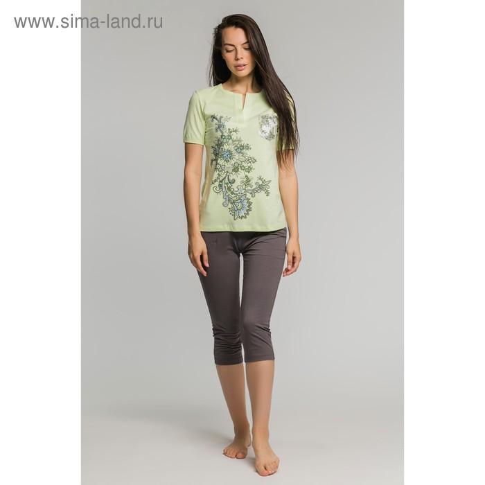 Комплект женский (футболка, бриджи) М-170-09 салат/серый, р-р 52
