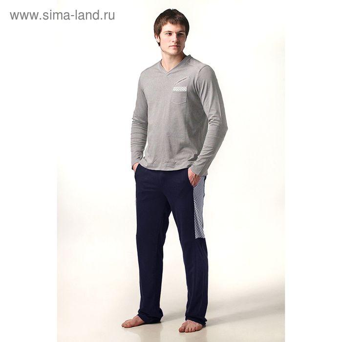 Пижама мужская (жакет, брюки) М-632/1-09 меланж/т.синий, р-р 52