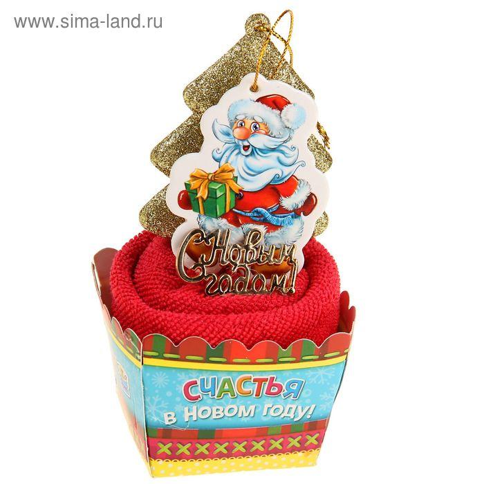 """Полотенце сувенирное """"Collorista"""" Дед Мороз, 28х28 см, микрофибра"""