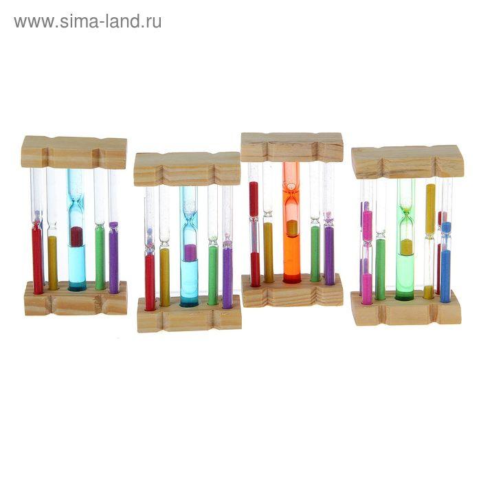 Часы песочные сувенирные,7 колб дерево, стекло МИКС 7х3,5х12,2 см
