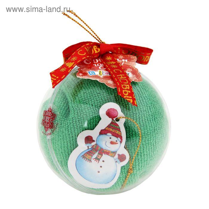 """Полотенце сувенирное """"Collorista"""" Снеговик в шапке, 30х30 см, микрофибра"""