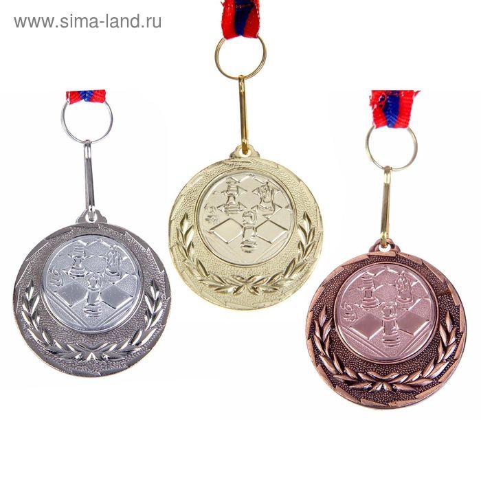 "Медаль тематическая 031 ""Шахматы"" диам 4 см. Цвет зол"