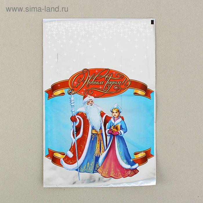 """Пакет подарочный """"Снегурочка"""" 25 х 40 см, цветной металлизированный рисунок"""