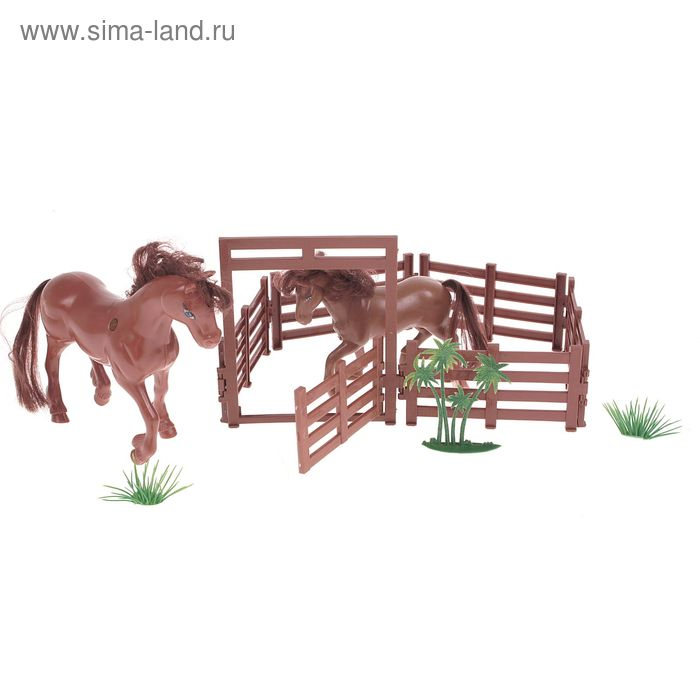 "Набор животных ""Лошади"" с аксессуарами, МИКС"