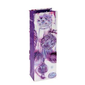 Пакет подарочный под бутылку 'С Новым Годом и Рождеством' 12х36х8.5 см Ош