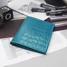 Обложка для автодокументов и паспорта, бирюзовый кайман