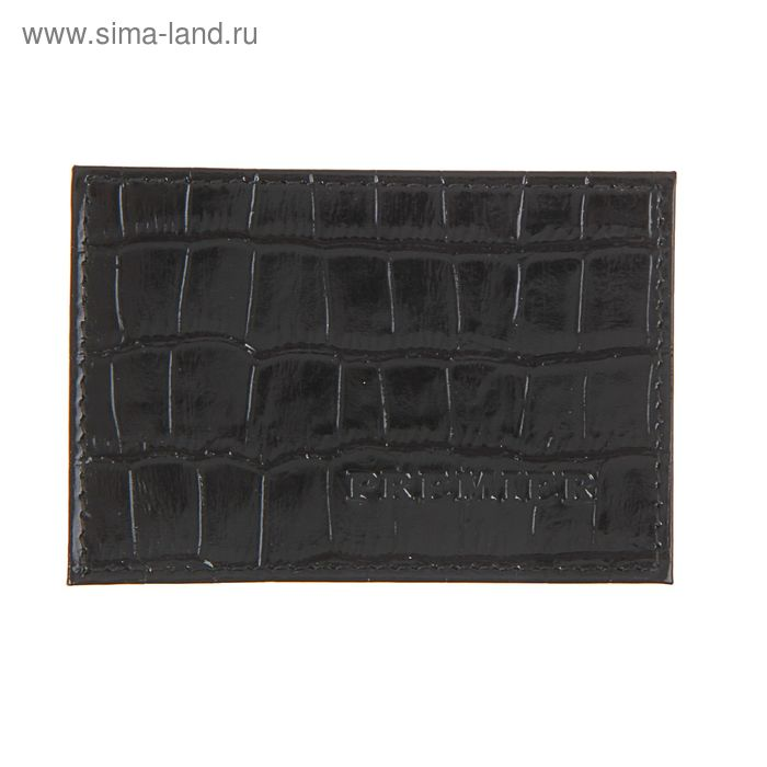 Футляр для карточки, чёрный крокодил