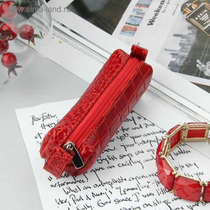 Ключница на молнии, металлическое кольцо, красный крокодил
