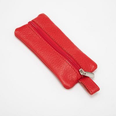 Ключница на молнии, кольцо, флотер, цвет красный