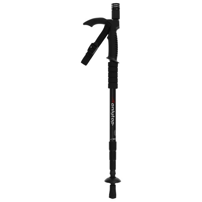 Палка-трость для скандинавской ходьбы телескопическая, 4-х секц,, алюм, до 110см, цвет чёрный-красный