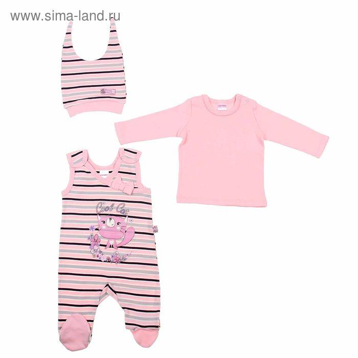 Комплект ясельный (ползунки, джемпер, шапочка), рост 80 см (52), цвет светло-розовый/серый  CAN 9406