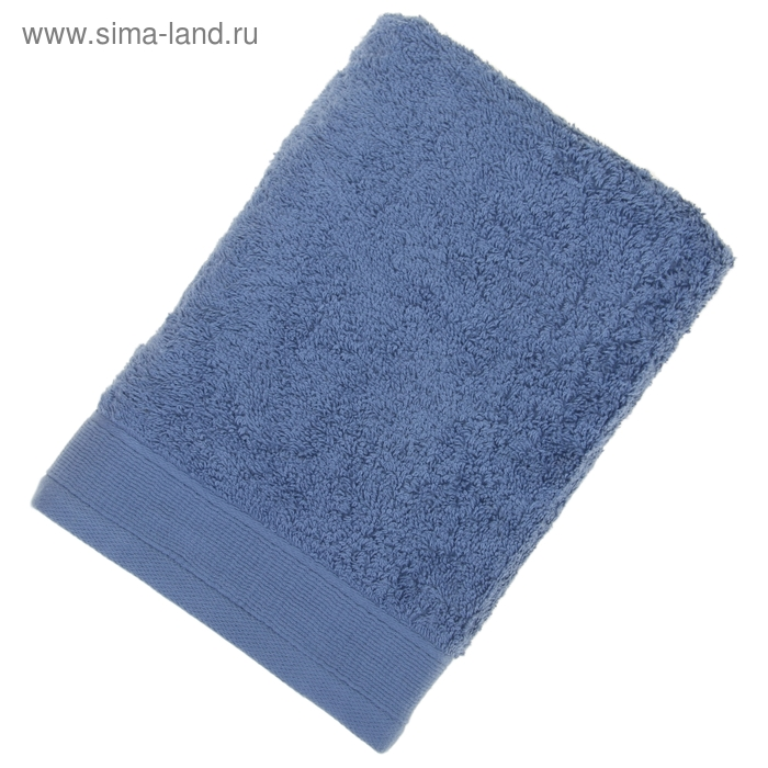 Полотенце махровое гладкокрашеное, размер 50х100 см, 500 г/м², цвет тёмно-голубой